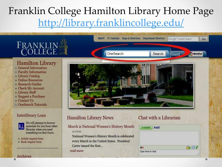 Franklin College Hamilton Library Home Page