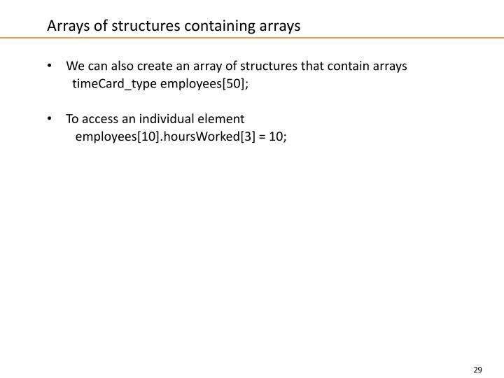 Arrays of structures containing arrays