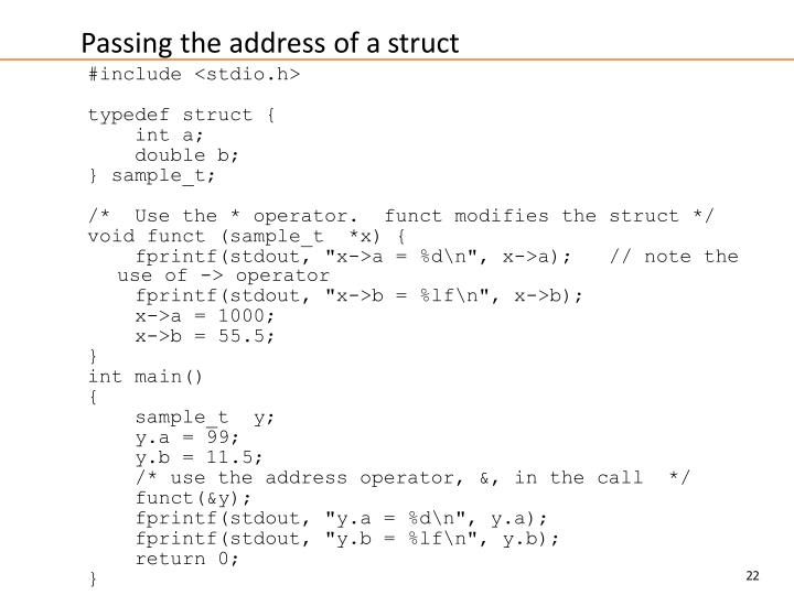 Passing the address of a