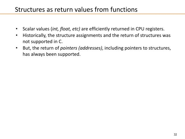 Structures as return values from functions