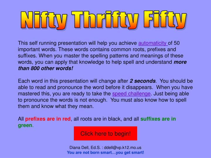Nifty Thrifty Fifty