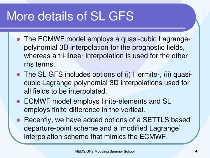 More details of SL GFS