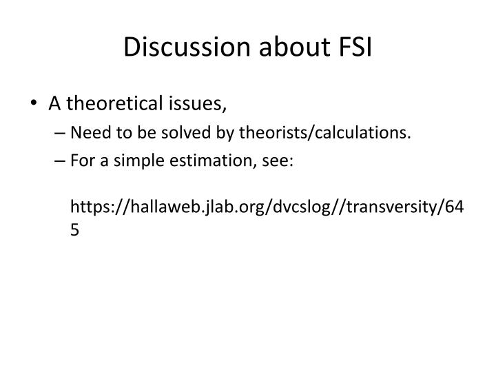 Discussion about FSI