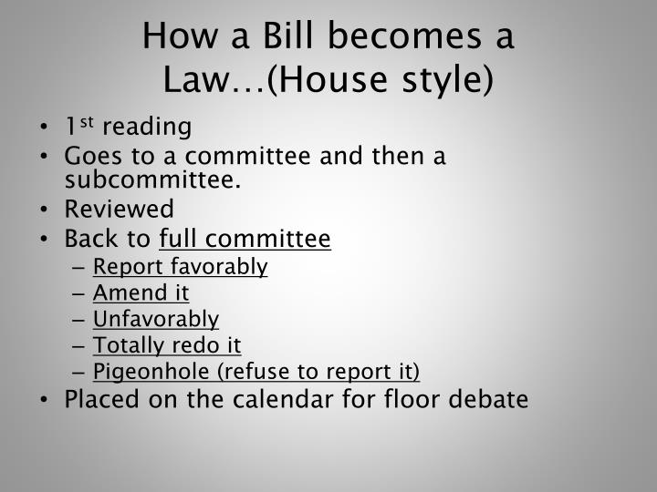 How a Bill becomes a Law…(House style)