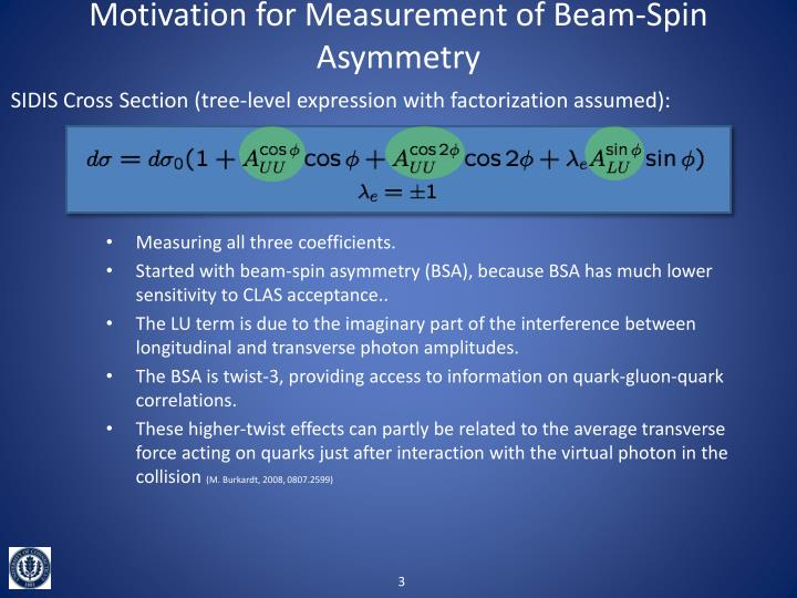 Motivation for Measurement of Beam-Spin Asymmetry