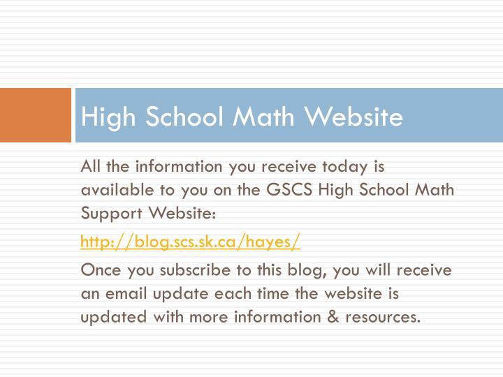 High School Math Website