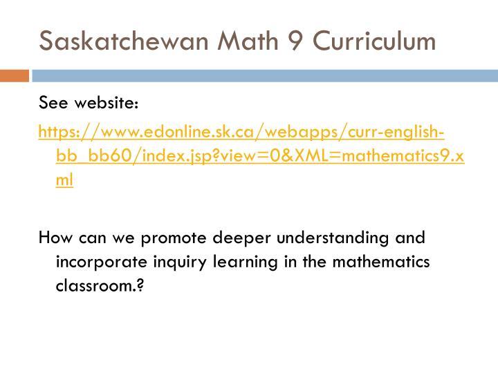 Saskatchewan Math 9 Curriculum