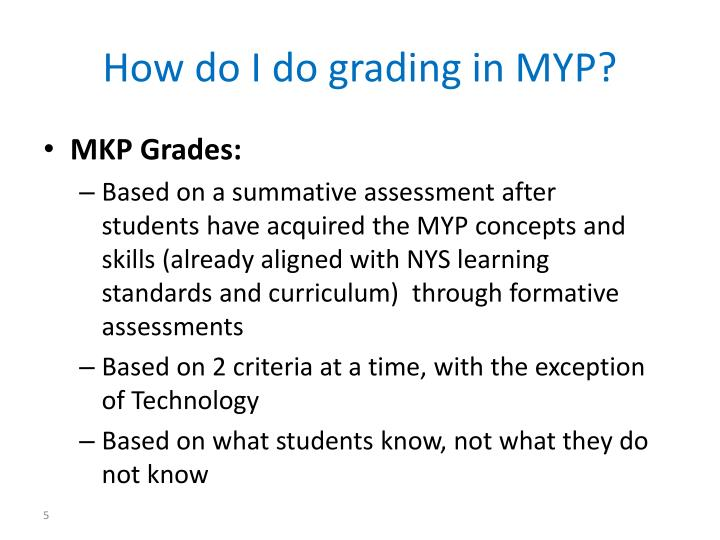 How do I do grading in MYP?
