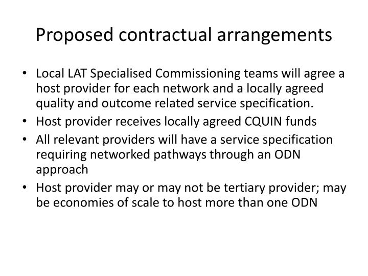 Proposed contractual arrangements