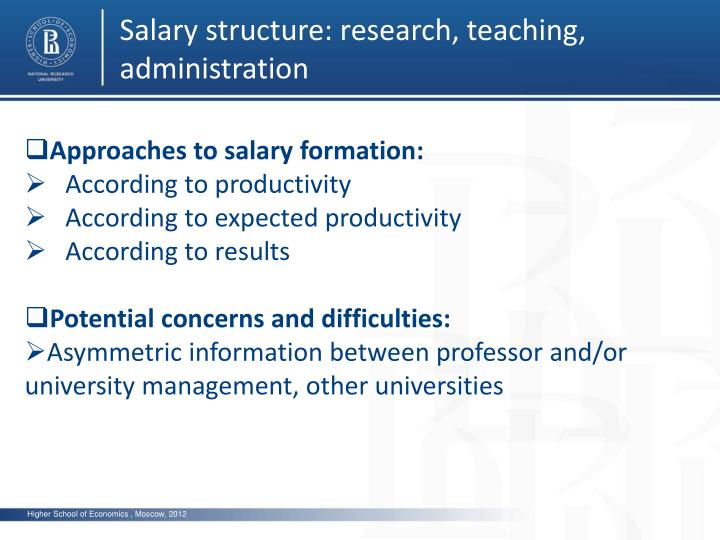 Salary structure: research, teaching, administration