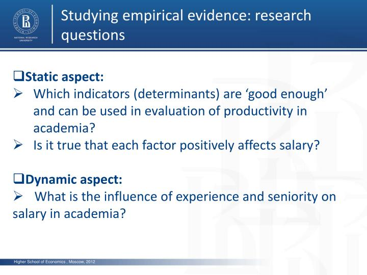 Studying empirical evidence: research questions