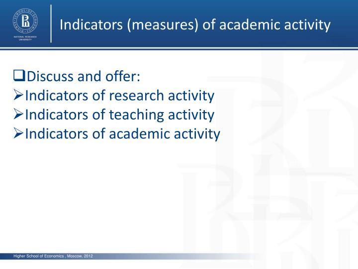 Indicators (measures) of academic activity