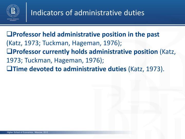 Indicators of administrative duties