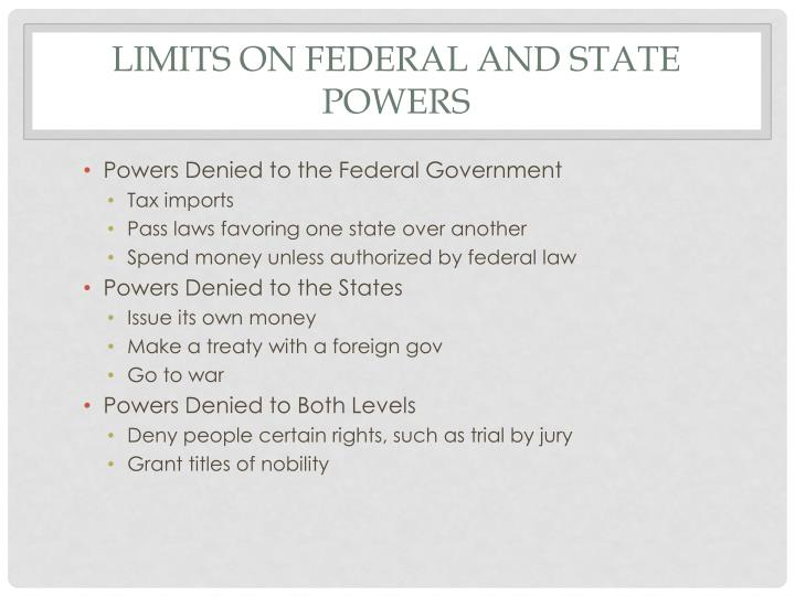 Limits on Federal and State Powers