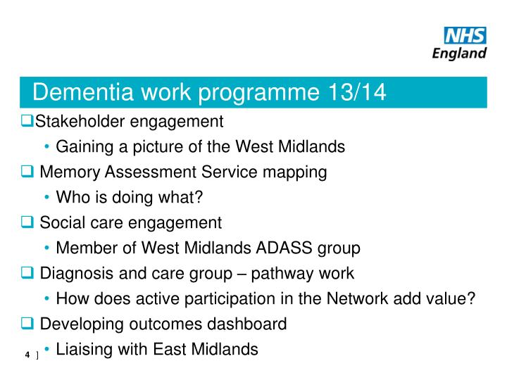 Dementia work programme 13/14