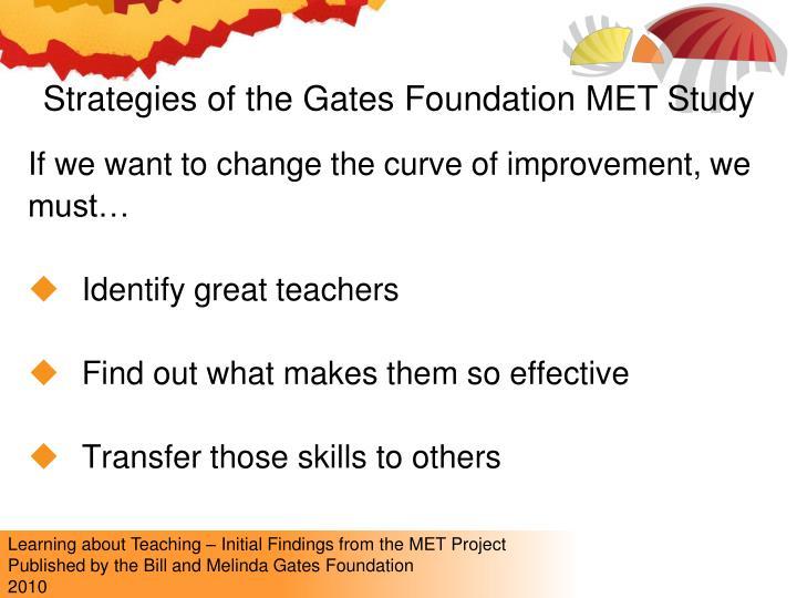 Strategies of the Gates Foundation MET Study
