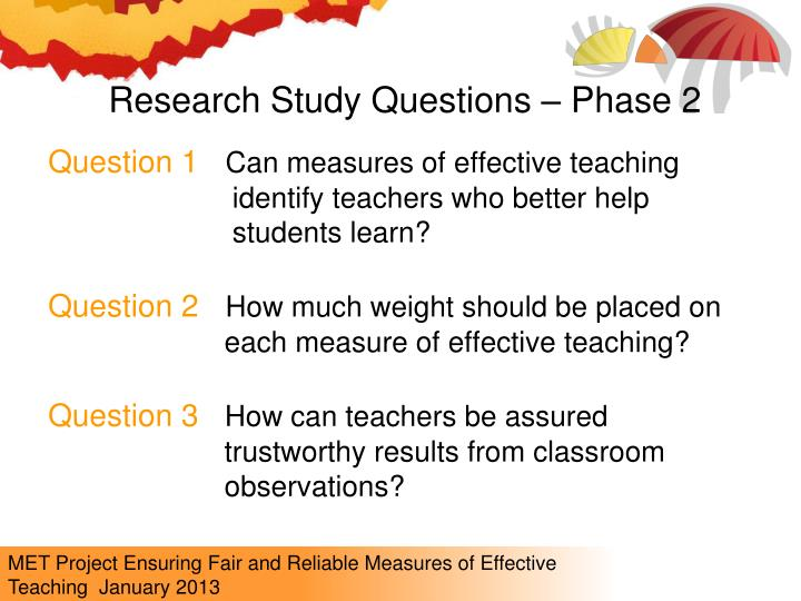 Research Study Questions – Phase 2