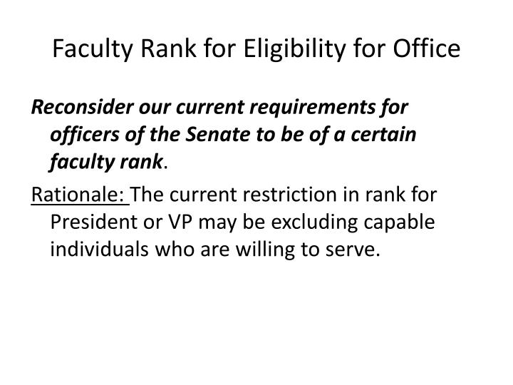 Faculty Rank for Eligibility for Office