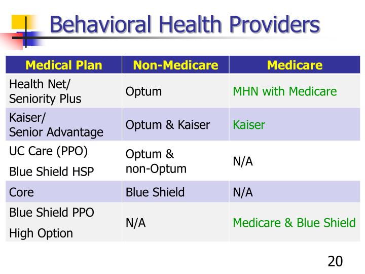 Behavioral Health Providers