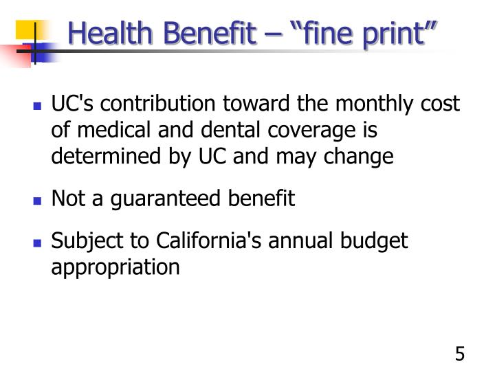 "Health Benefit – ""fine print"""