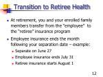transition to retiree health