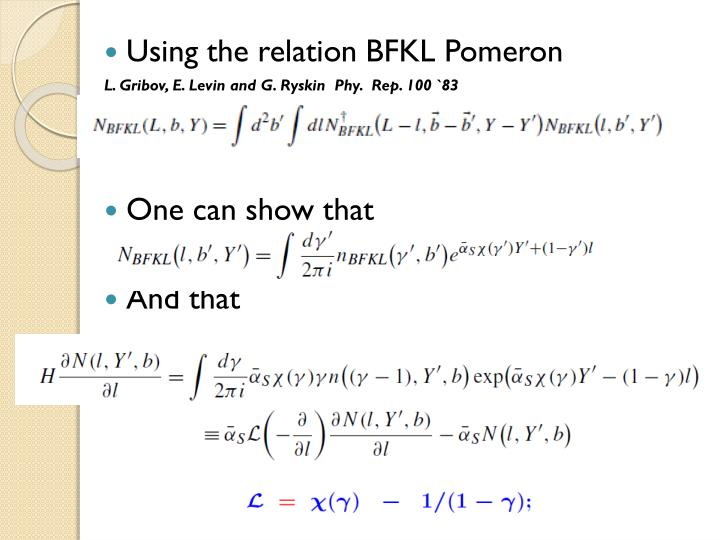 Using the relation BFKL