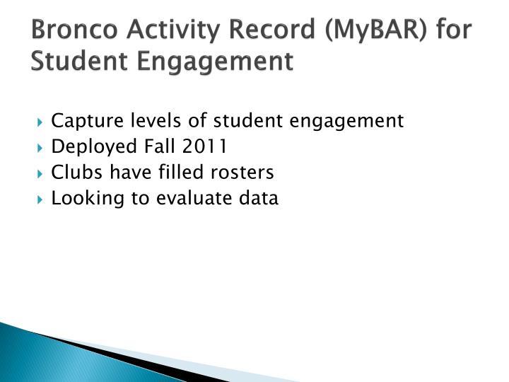 Bronco Activity Record (