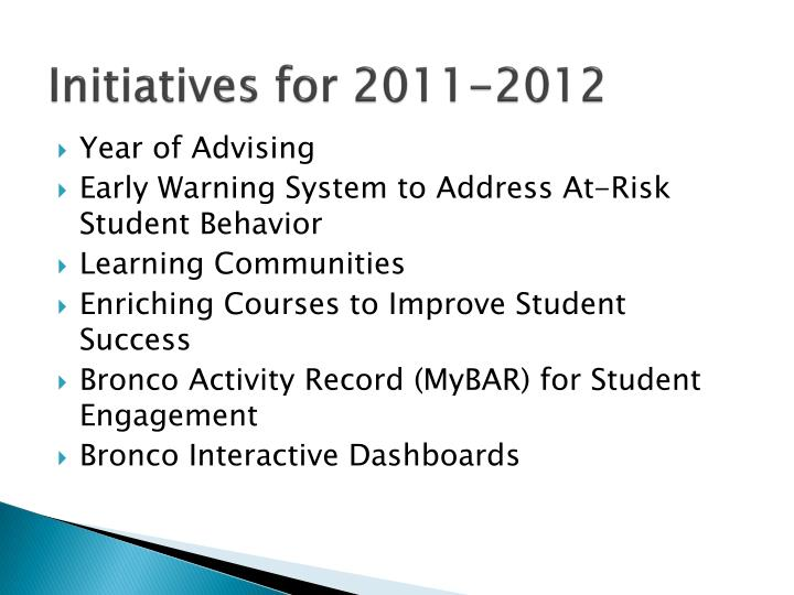 Initiatives for 2011-2012