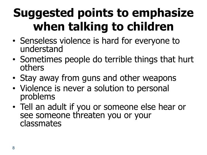 Suggested points to emphasize when talking to children