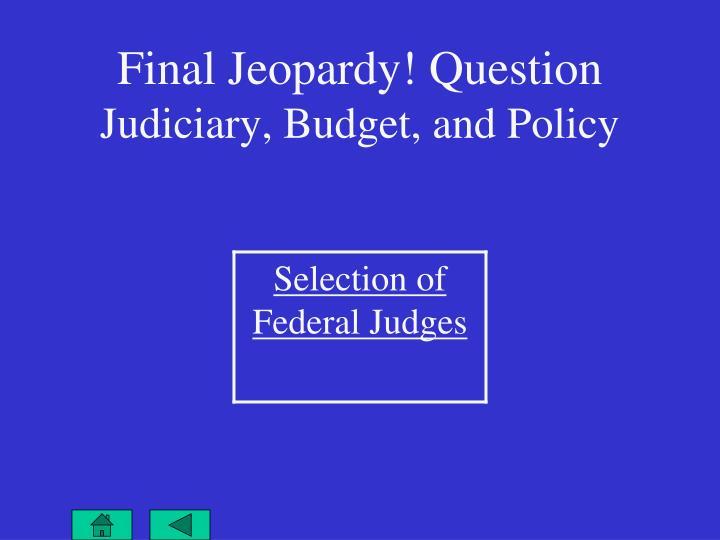 Final Jeopardy! Question