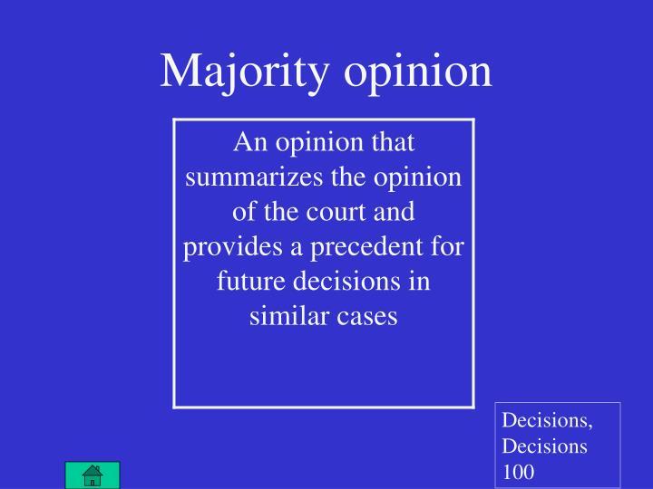 Majority opinion