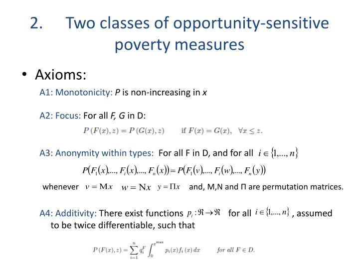 2.Two classes of opportunity-sensitive poverty measures