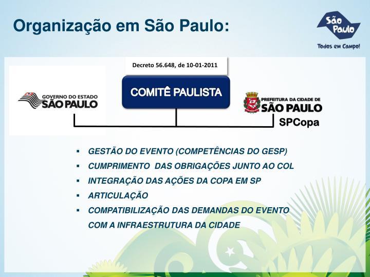 Organização em São Paulo: