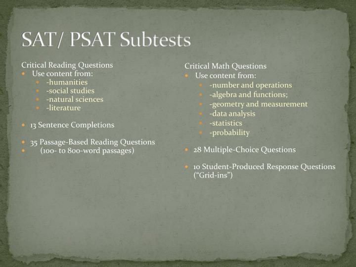 SAT/ PSAT Subtests
