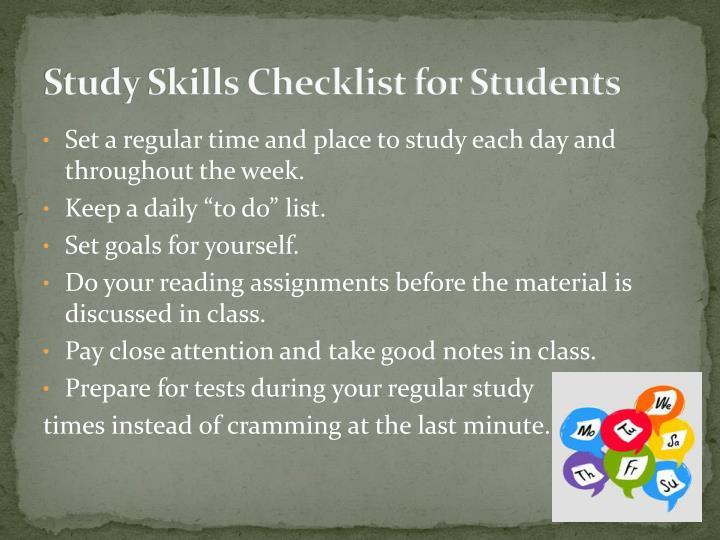 Study Skills Checklist for Students