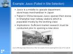 example jusco failed in site selection