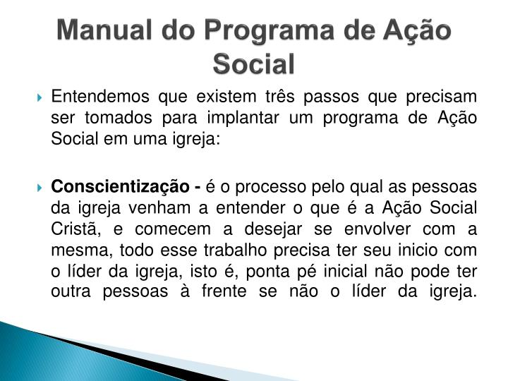 Manual do Programa de Ação Social