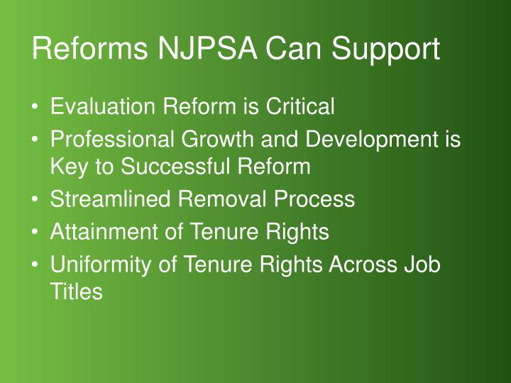 Reforms NJPSA Can Support