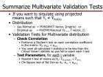 summarize multivariate validation tests1
