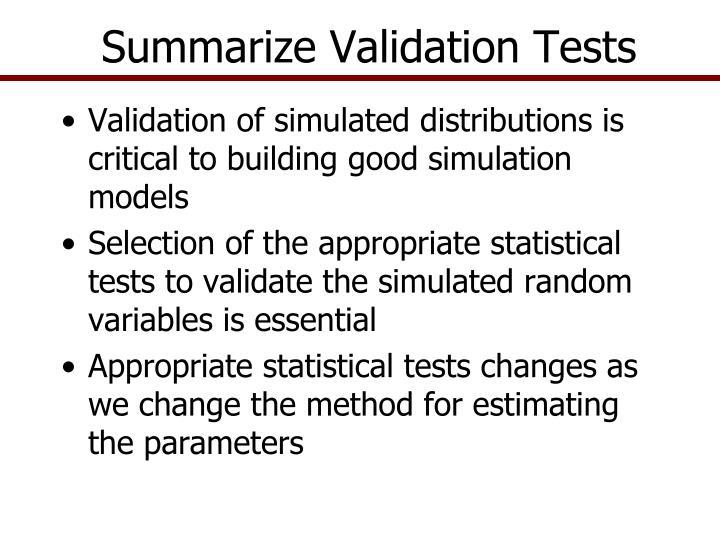 Summarize Validation Tests