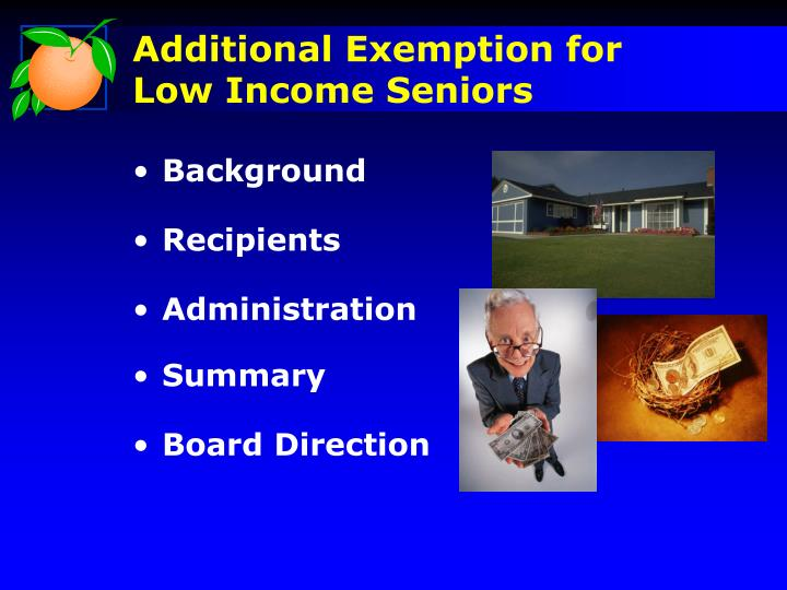 Additional exemption for low income seniors