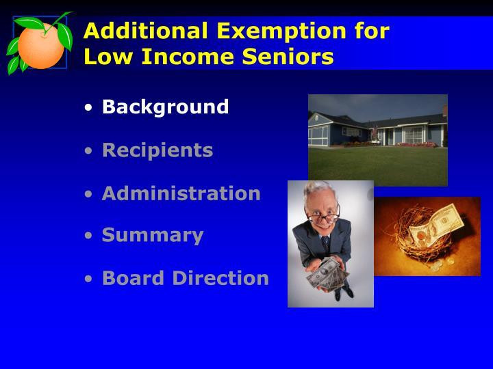Additional exemption for low income seniors1