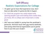 self efficacy realistic expectations for c ollege