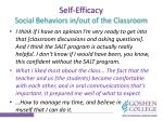 self efficacy social behaviors in out of the classroom