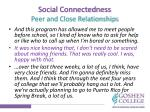 social connectedness peer and close relationships