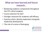 what we have learned and future research
