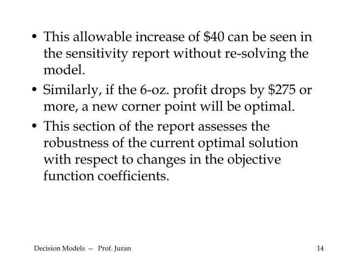 This allowable increase of $40 can be seen in the sensitivity report without re-solving the model.