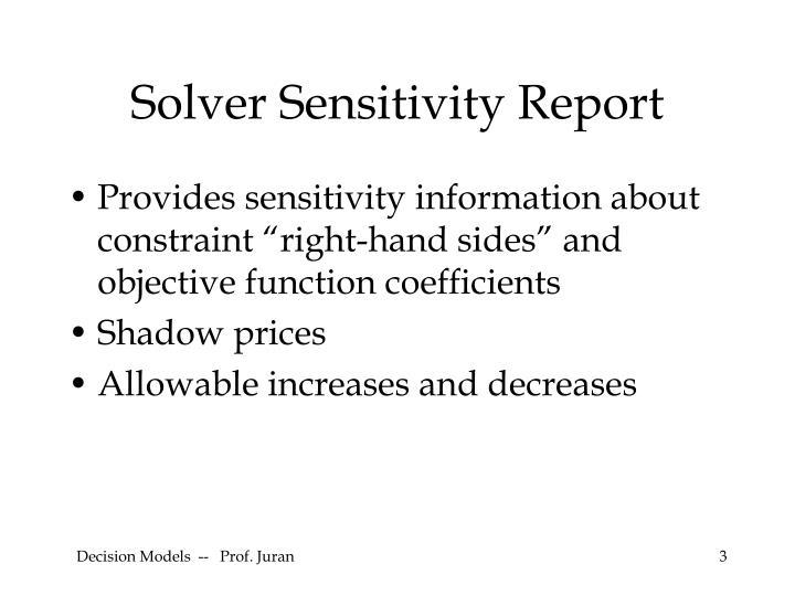 Solver Sensitivity Report