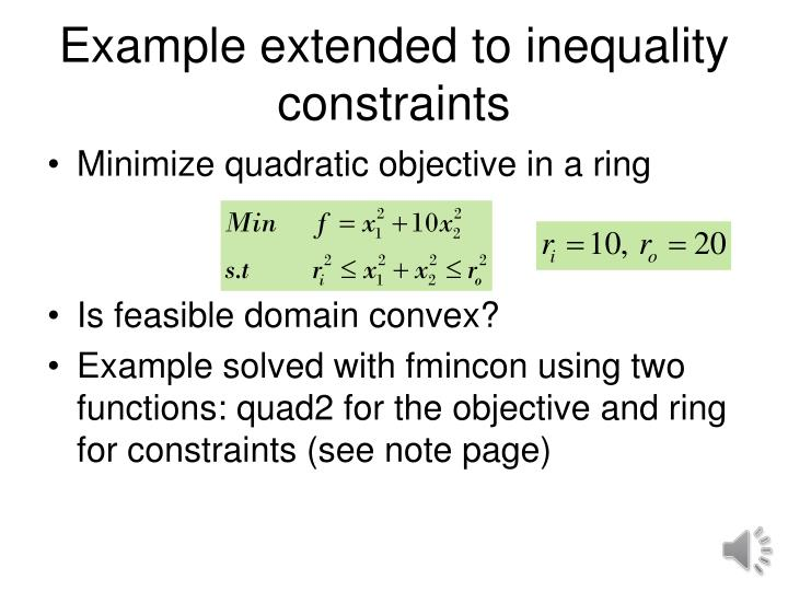 Example extended to inequality constraints