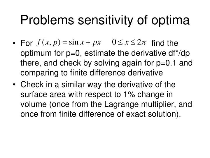 Problems sensitivity of optima